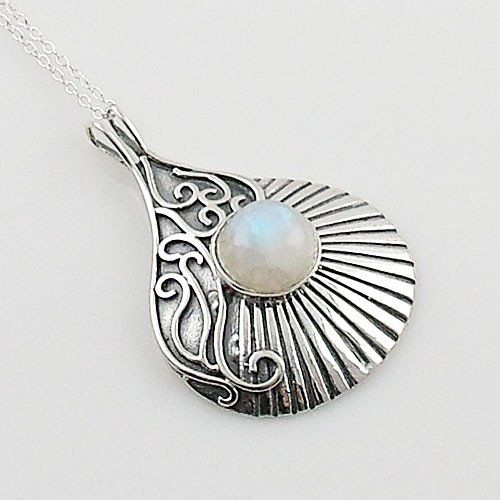 """Moonstone set in solid sterling silver artisan crafted pendant. DETAILS: * Moonstone Pendant * 3.9 g total weight * Set in SOLID .925 Sterling Silver * Stamped .925 * Measures approximately 1 1/2 """" x"""