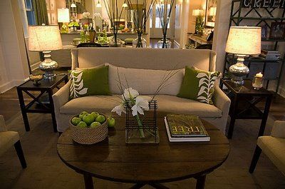 coffee table, decor, side tables and pillows