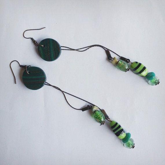 "Orecchini doppia lunghezza ""All the world is green"" - double-length earrings"