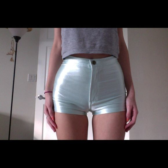 American Apparel MENTHE Disco Shorts! SIZE S  The American Apparel Disco Short. This color is not on sale, size S. Good condition. Very small make up stain, however I have not tried removing it. WORN ONCE American Apparel Shorts