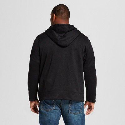 Men's Big & Tall Sweater Fleece Hoodie Black Xxxl Tall - Merona, Size: Xxl Tall