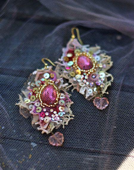 Baroque earrings-- asymmetric earrings, shabby chic, romantic lightweight bohemian earrings, hand beaded