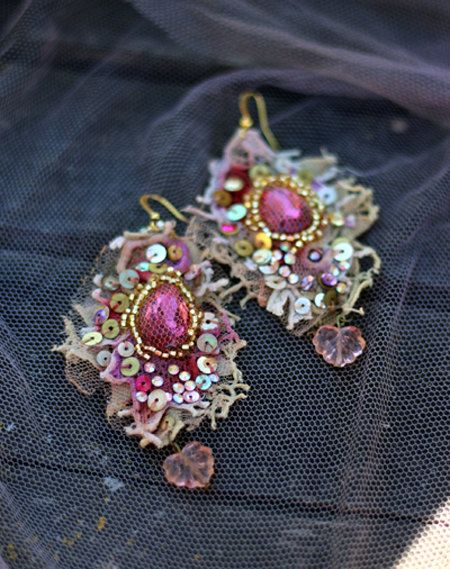 Baroque earrings-- asymmetric earrings, shabby chic, romantic lightweight bohemian earrings, hand beaded