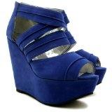 Spy Love Buy Elena Suede Style Wedge Heel Platform Court Shoes