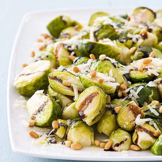 Slow-Cooker Balsamic-Glazed Brussels Sprouts With Pine Nuts — a Thanksgiving-ready side that frees up your stove and oven!
