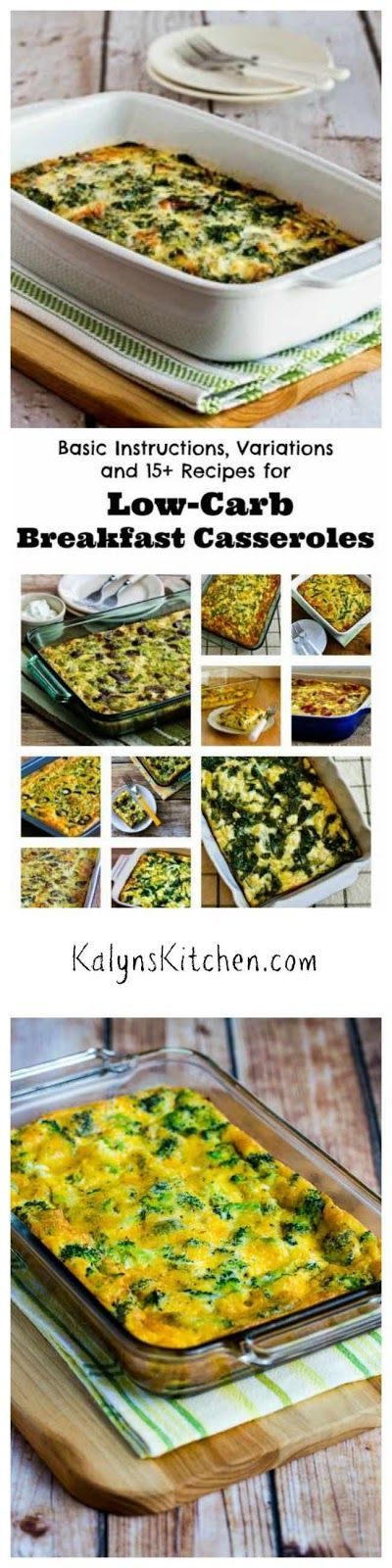 I make a breakfast casserole nearly every weekend and eat it all week! Here are the Basic Instructions and Recipes for Low-Carb Breakfast Casseroles that I use; the variations are endless! [found on KalynsKitchen.com]