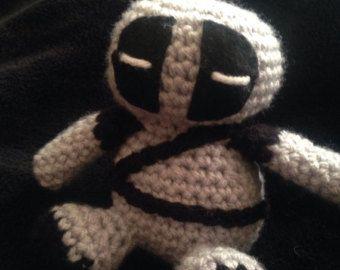 Handmade Deadpool Amidurumi - wearing XForce costume.