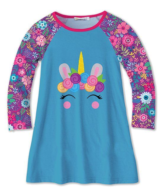 14ed79e61 Take a look at this Turquoise & Purple Unicorn & Floral Raglan Shift Dress  - Toddler & Girls today!