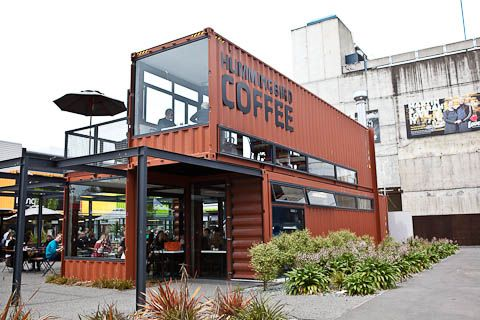Shipping container bag shop caf 39 e pinterest - Shipping container homes el tiemblo spain ...