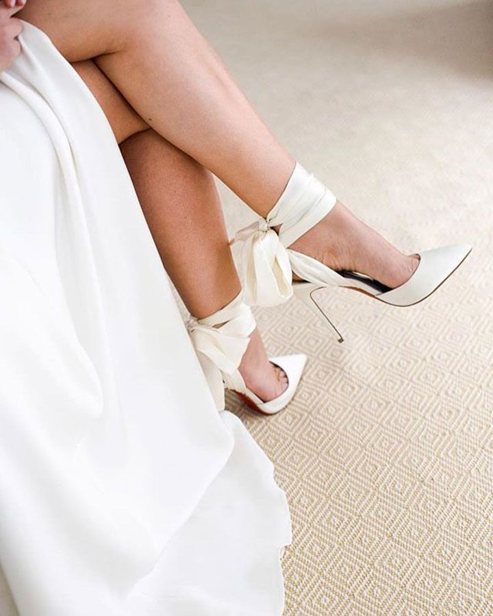 5ddf686d8644 Spectacular Satin Ankle Wrap Pumps for the Sophisticated Bride ~ great shot  of Christian Louboutin s Douce Du Desert off white crepe satin d Orsay pump  with ...
