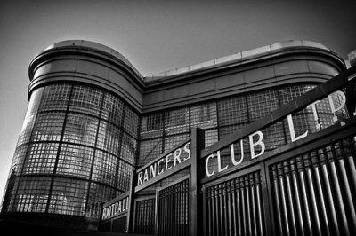 Wonderful black & white shot of the famous Copland Road gates at Rangers Ibrox stadium Copland Road Gates, Ibrox Stadium.