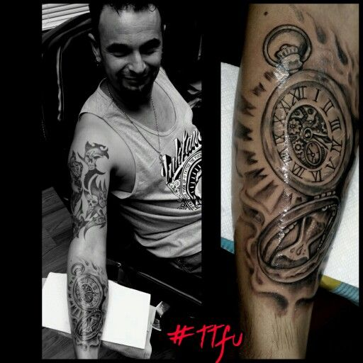 Did a cool #timepiece  tat for my homie @moises  last week... Got a bunch of pix to post from last week..  Smoke background to help build into the sleeve..  #walkinweek  #loyaltybreedzroyalty #greywash  #inkjecta #superbtattoos #artistmafia #artcollective #artismylife #tattedthefuckup #ttfu @inkfamlifestyle by @shadowink #317 #naptown #fallenempire #fusionink