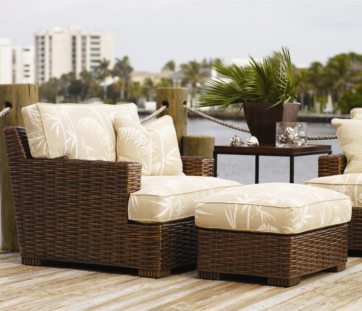 Ocean Club Woven Split Rattan Salina Chair U0026 Ottoman By Tommy Bahama Home    Jacksonville Furniture Mart   Chair U0026 Ottoman Jacksonville, Gainesville, ...