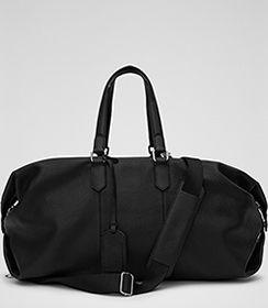 Hines Black Leather Weekend Holdall - REISS