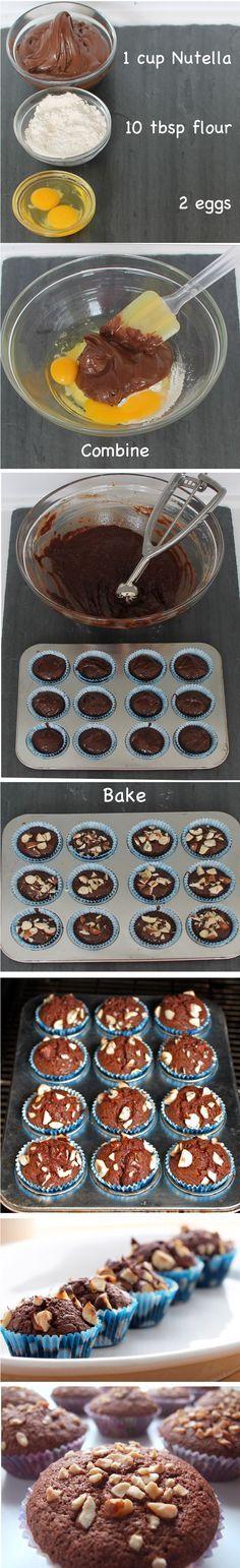 Brownies-muffins de Nutella en 15 minutos