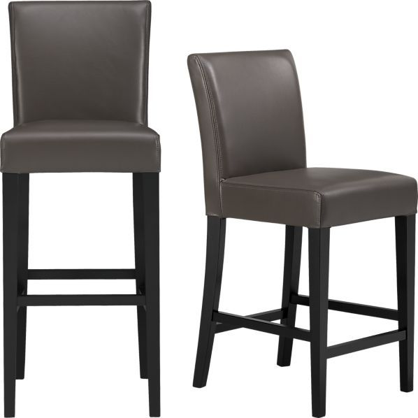 Lowe Smoke Leather Barstools in Dining, Kitchen Barstools | Crate and Barrel