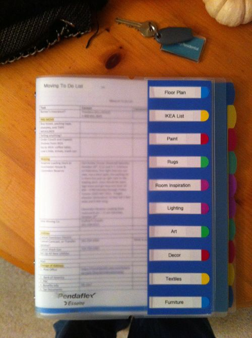 Idea for Moving Organization: Moving Binder | thehyperbalist