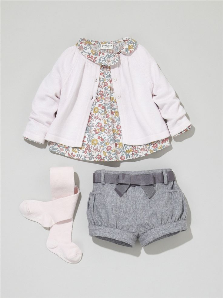 GIRLS' A-LINE CARDIGAN + BABIES' PRINT BLOUSE + BABIES' FLANNELETTE SHORTS + GIRL'S PLAIN TIGHTS -