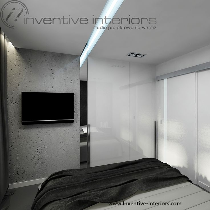 Projekt sypialni Inventive Interiors - biało szara męska sypialnia - beton w sypialni