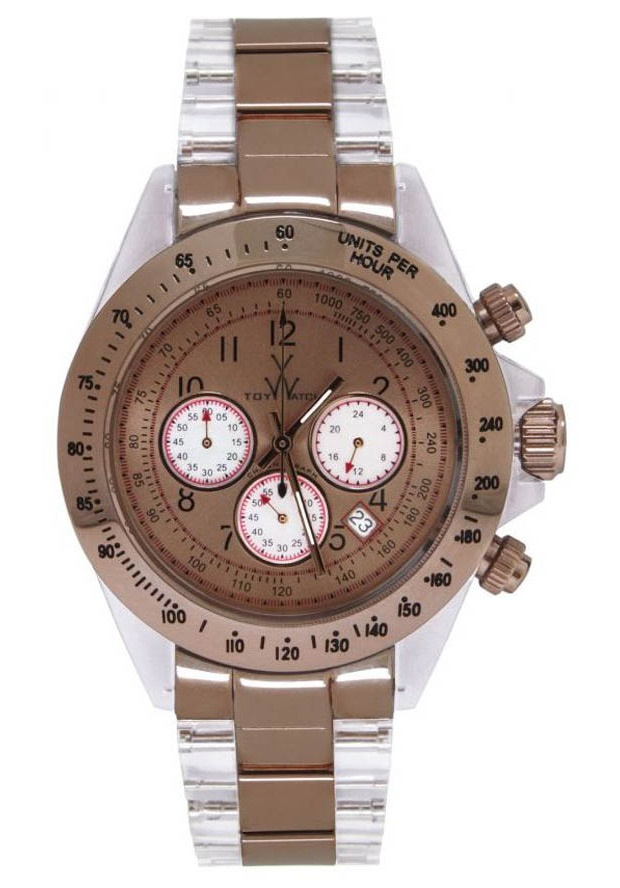 Price:$127.75 #watches ToyWatch HM06PG, Transparent polycarbonate case. Polycarbonate and steel strap. Gold dial. Pink gold bezel. Luminous hands. Glass stone markers. Chronograph. Magnifying date function. Quartz movement. Case 40mm. Butterfly clasp. Water resistant 50 meters.