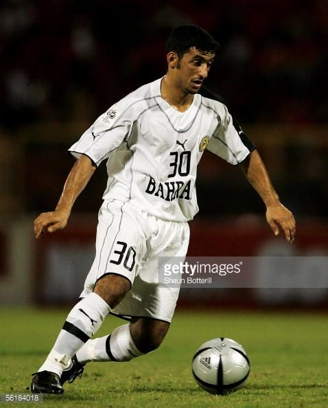 Alaa Ahmed Hubail of Bahrain in action during the FIFA 2006 World Cup Playoff First Leg match between Trinidad Tobago and Bahrain at the Hasley...