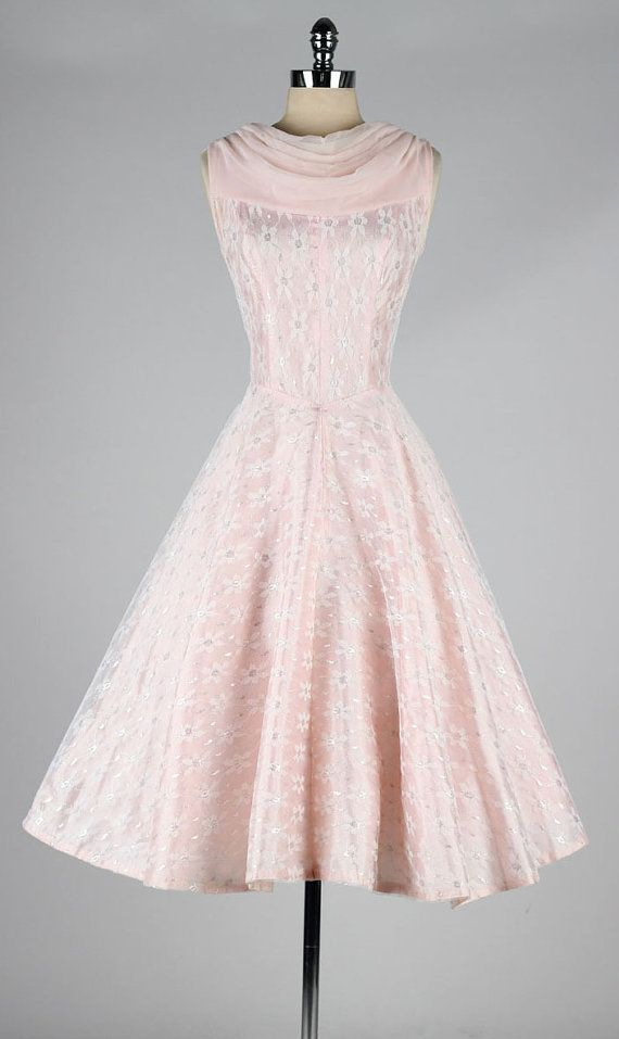vintage 1950s dress . pink chiffon . daisy by millstreetvintage