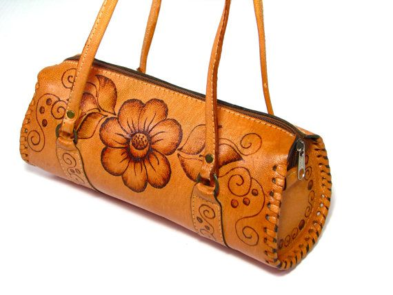 Leather Satchel. Small Tooled Leather Satchel. by ForeverGinger