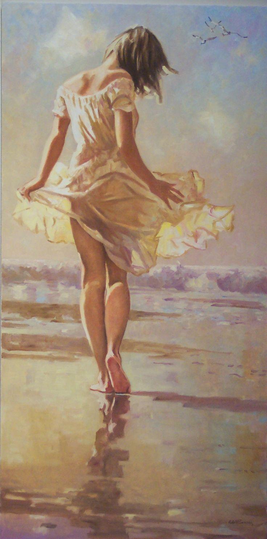Beach Paintings Robert Sarsony A Seaside Stroll 48 x 24 I love this composition.   robertsarsony.com