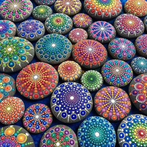 "With a style she calls, ""dotillism,"" Canada-based, Australian artist Elspeth McLean creates mesmerizingly vibrant paintings of mandalas on water-worn, circular ocean stones that have the ineffable ability of calming the soul.Her mural-like works are colorful and thematic, sharing similar patterns, but donning different, yet equally beautiful, color schemes.If you're interested in buying any of her creations, you can find her on Etsy."