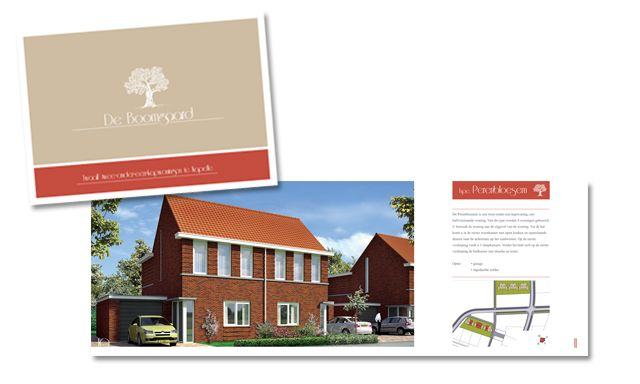 De Boomgaard - Ontwerp en opmaak van verkoopbrochure voor verkoop van 12 woningen in plan Zuidhoek te Kapelle. Opdrachtgever: Bouwbedrijf De Delta BV