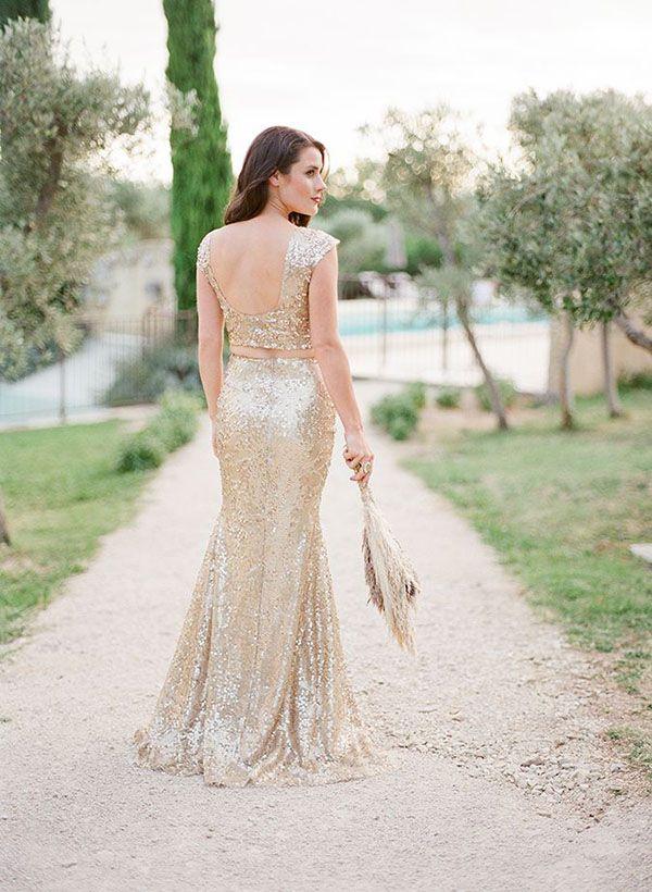 Champagne Sequin Wedding Dress   Huygearts Photography   See More! http://heyweddinglady.com/fab-bridal-alternatives-white-wedding-dress/