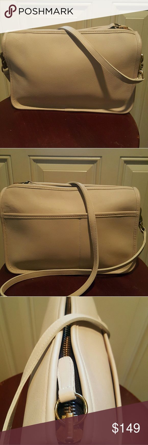 Vintage coach  leather crossbody handbag Vintage Made in USA rare ivory cream leather excellent condition. Coach Bags Crossbody Bags