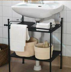 Add a sink shelf if you don't have a vanity. RONNSKAR sink shelf, $19.99