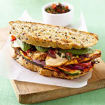 Portugese grilled chicken sandwich with olive salsa