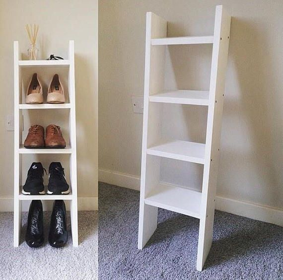 4 Shelf Solid Wood Narrow White Ladder Style Shoe Rack With