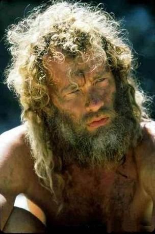 """Tom Hanks in """"Cast Away"""" He (and his ball, Wilson) should have an Oscar for almost carrying the movie by himself. Just my opinion."""