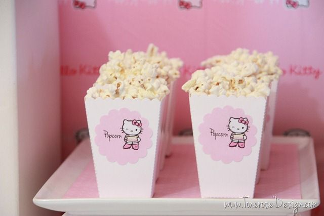 Hello Kitty popcorn boxes - rosa popcornbegre barnebursdag