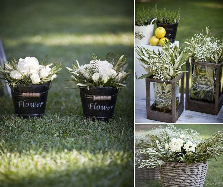 Country Chic details...olive tree leaves, baby breaths and aromatic herbs!
