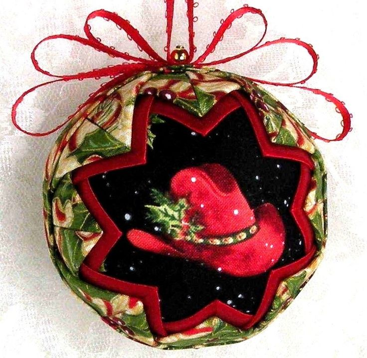 IT'S COUNTRY TIME BOOT SCOOTIN' BOOGIE COWBOY/GIRL QUILTED BALL ORNAMENT NEW B4