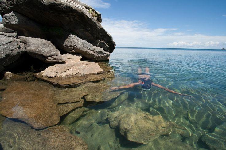 Snorkeling Lake Malawi's crystal clear waters around Nkwichi
