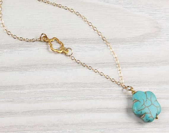 Turquoise flower necklace asymmetrical necklace by OlizzJewelry, $25.90