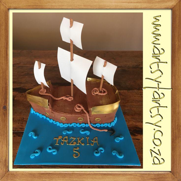 Pirate/Sail Ship Cake #sailshipcake #pirateshipcake