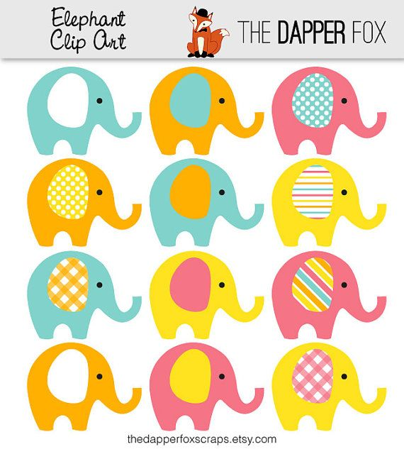 Pink Blue Orange Yellow Elephant Clip Art in by TheDapperFoxScraps