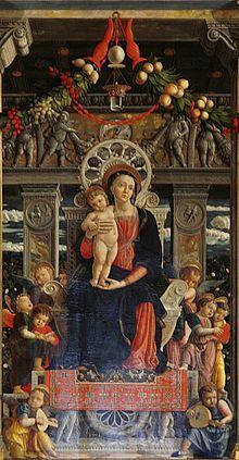 Andrea Mantegna (Italian, c.1431–1506), San Zeno Altarpiece, 1457–1460, Tempera on panel, 212 cm × 460 cm (83 in × 180 in), Basilica di San Zeno, Verona.