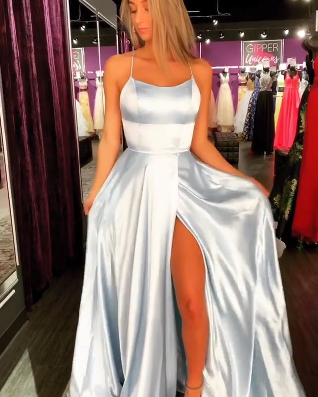 Navy Blue Prom Dresses Spaghetti Straps Evening Dress Long with Split Front