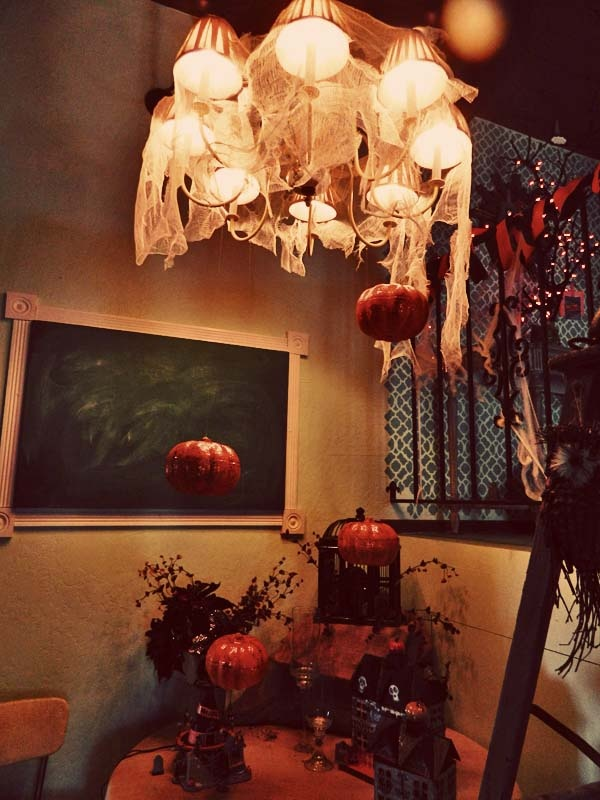 Halloween Decorations: Cheesecloth Chandelier & Floating