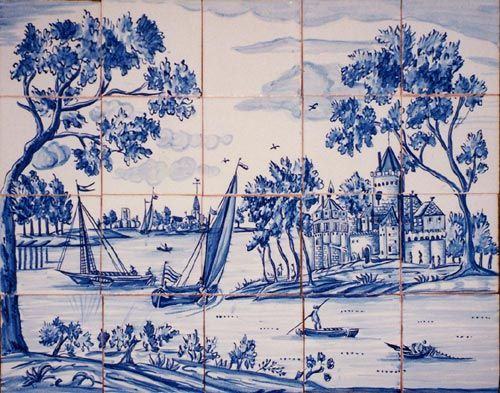 Dutch mural repro SOLAR Antique Tiles : :