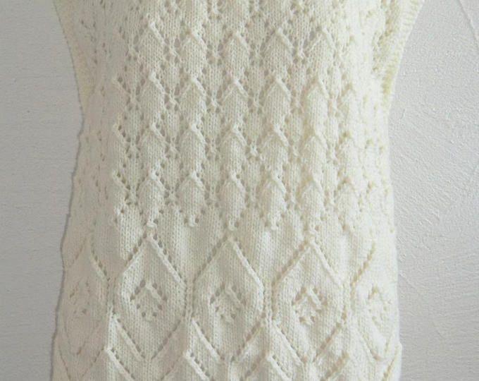 Poncho - Tunique avec franges - Femme - En laine - Motifs fantaisie ajourés - Taille 38 - 40 - Tricoté à la main