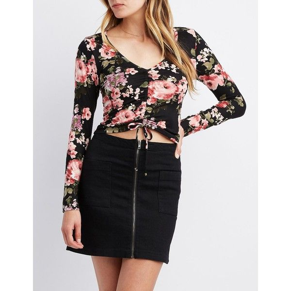 Charlotte Russe Floral Cinched V-Neck Crop Top (64 PEN) ❤ liked on Polyvore featuring tops, multi, floral crop top, crop tops, floral print tops, charlotte russe and floral tops