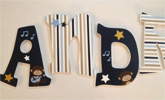 Hand Painted Nursery Letters Carter's Monkey by RachelRaeDesigns, $18.00